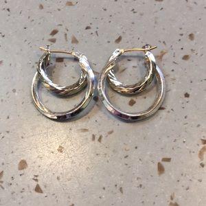 Ladies Hoop Silver & Gold Earrings